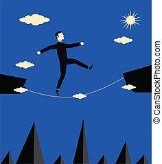 uomo affari, rischio, passeggiata