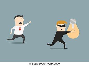 uomo affari, rubare, idea, ladro