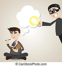 uomo affari, rubato, cartone animato, idea