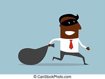 uomo affari, rubato, flees, borsa
