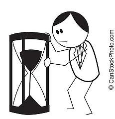 uomo affari, sabbia, orologio