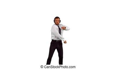 uomo affari, saltare, su, e, ballo