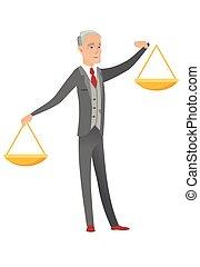 uomo affari, scale., equilibrio, caucasico, presa a terra