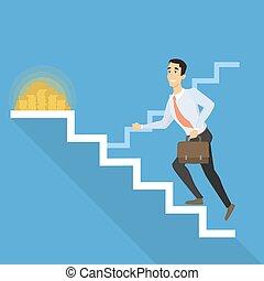 uomo affari, scale.