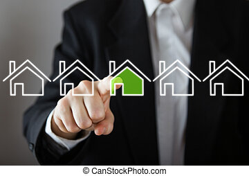 uomo affari, scegliere, casa, beni immobili, concept., mano, urgente, il, casa, icon., spazio copia