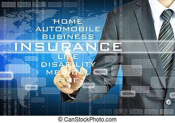 uomo affari, schermo, segno, virsual, assicurazione, toccante