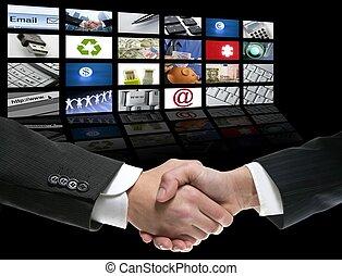 uomo affari, schermo, sopra, stretta di mano, prospettiva