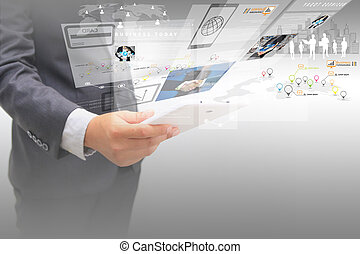 uomo affari, screen.business, concetto, virtuale, lavorativo