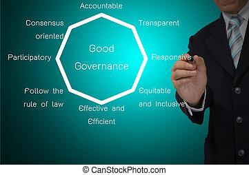 uomo affari, scrittura, buono, governo, diagramma