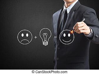 uomo affari, scrittura, buono, idea