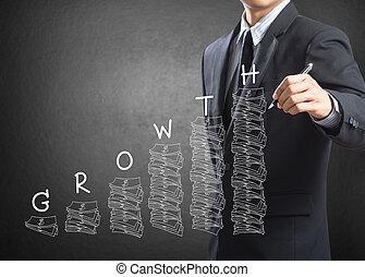 uomo affari, scrittura, crescita, concetto