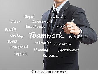 uomo affari, scrittura, lavoro squadra