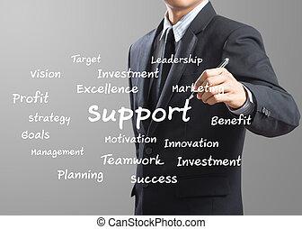 uomo affari, scrittura, sostegno