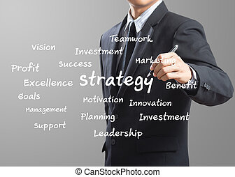 uomo affari, scrittura, strategia