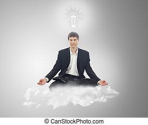 uomo affari, sedere posizione lotus, su, uno, nuvola, con, uno, lampadina, sopra, tuo, testa