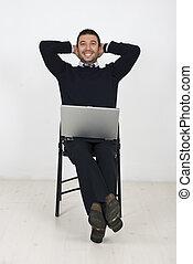 uomo affari, sedia, laptop, felice