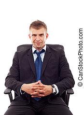 uomo, affari, seduta