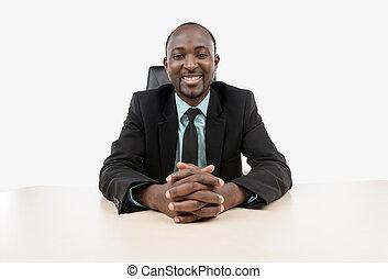 uomo affari, seduta, scrivania