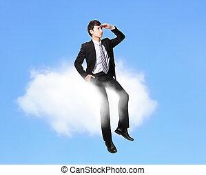 uomo affari, seduta, su, uno, nuvola