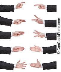 uomo affari, set, contato, mano