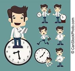 uomo affari, set, orologio