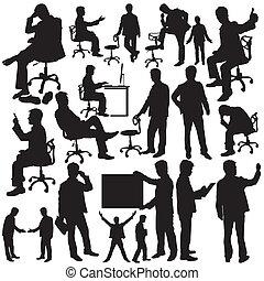 uomo affari, silhouette, collezione, v