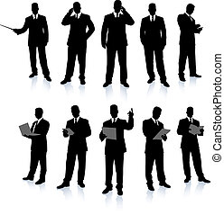 uomo affari, silhouette, collezione