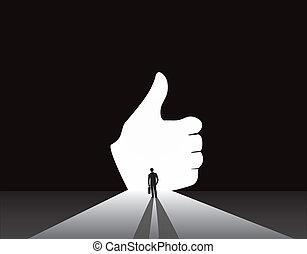 uomo affari, silhouette, pollici