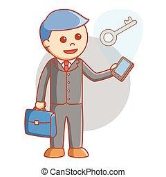 uomo affari, soluzione, chiave, linea