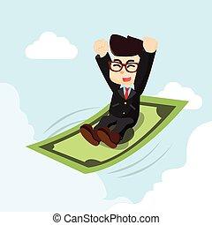 uomo affari, sopra, denaro volante