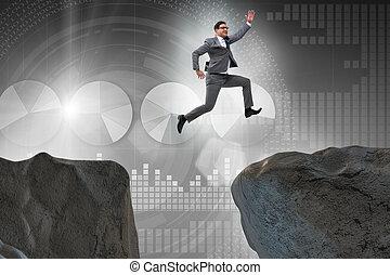 uomo affari, sopra, saltare, ambizioso, scogliera