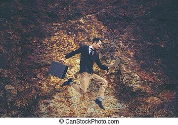 uomo affari, sopra, saltare, montagna