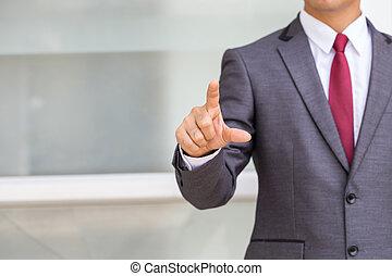 uomo affari, spinta, su, uno, schermo tocco