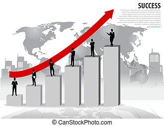 uomo affari sta piedi, su, graph., vettore, illustration.