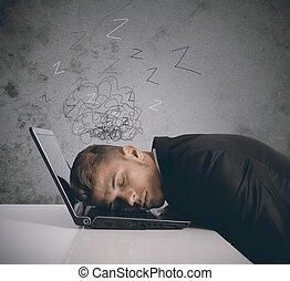 uomo affari, stanco