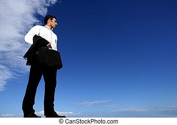 uomo affari, stato piedi, regione selvaggia