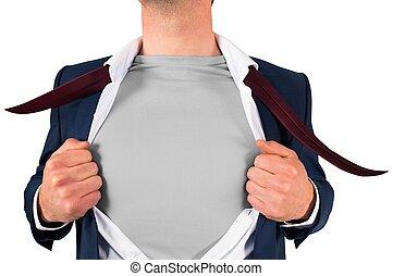 uomo affari, stile, superhero, camicia, apertura