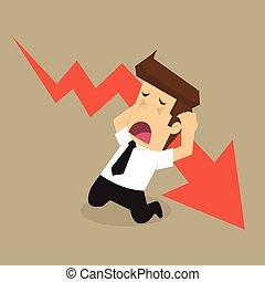 uomo affari, stress, cadere