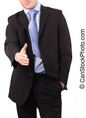 uomo affari, stretta di mano, offerta