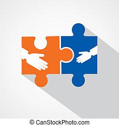 uomo affari, stretta di mano, puzzle