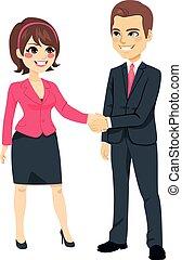 uomo affari, stringere mano, donna d'affari