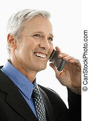 uomo affari, su, telefono.