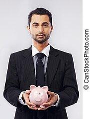 uomo affari, suo, banca piggy