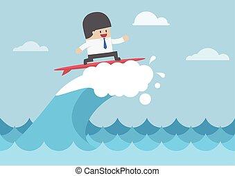 uomo affari, surfing, su, onda, concetto affari