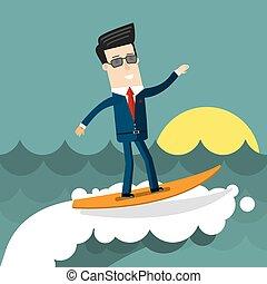 uomo affari, surfing, su, wave., appartamento, disegno, concetto affari, illustration.