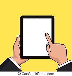 uomo affari, tavoletta, hands., digitale