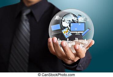 uomo affari, tecnologia, mani