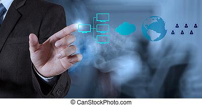 uomo affari, tecnologia moderna, mostra
