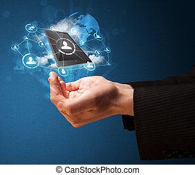 uomo affari, tecnologia, nuvola, mano