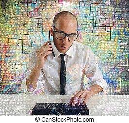 uomo affari, telefono